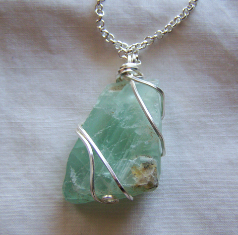 Natural green fluorite wire wrapped crystal pendant my mystic gems natural green fluorite wire wrapped crystal pendant aloadofball Gallery