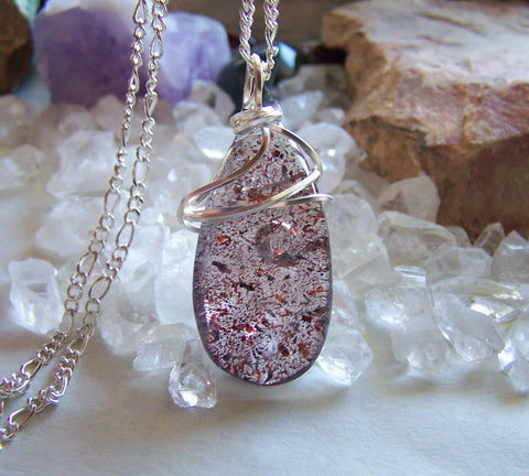 Harlequin Quartz Lepidocrocite Crystal Gemstone Pendant Necklace