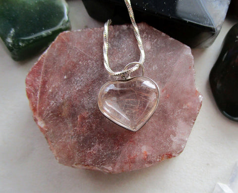 Vintage Rutilated Quartz Crystal Heart Sterling Silver Pendant Necklace