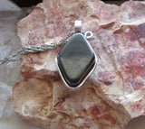 Natural Hematite Stone Wire Wrapped Pendant Necklace