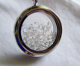 Herkimer Diamond Shaker Necklace Floating Crystals Double Sided Glass Locket Pendant