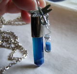 Blue Agate Bullet Pendant with Dragonfly and Tiny Hourglass
