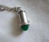 Jade Green Glass Silver Bullet Jewelry Pendant