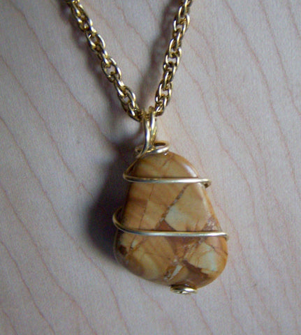 Natural Picture Jasper Wire Wrapped Pendant Necklace