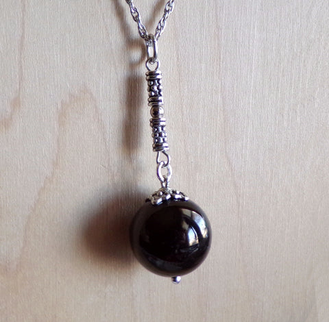 Black Jet Natural Stone Ball Pendant Necklace