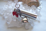 Silver Kaleidoscope Red Hearts Valentine Love Pendant