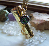 Gold Brass Kaleidoscope Compass Pendant Necklace