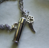 Keepsake Silver Bullet Capsule Pet Memorial Pendant