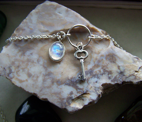 Rainbow Moonstone Sterling Silver Key Necklace