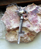 Antique Skeleton Key with Winged Heart and Quartz Crystal Point Pendant