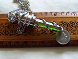 DNA Double Helix Kryptonite Quartz Silver Bullet Pendant