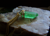 Green Aura Crystal Kryptonite Quartz Gold Wire Wrapped Pendant