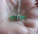 Green Kryptonite Quartz Aura Crystal Pendant