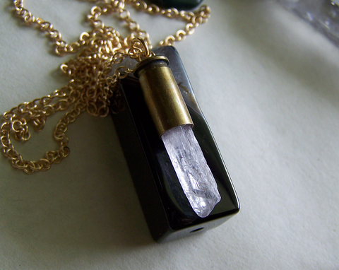 Natural Pink Kunzite Crystal Bullet Jewelry Pendant