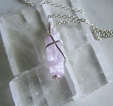 Natural Pink Kunzite Crystal Gemstone Pendant