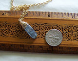 Natural Blue Kyanite Gold Wrapped Gemstone Pendant Necklace