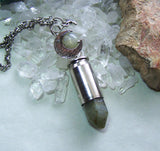 Labradorite Gemstone Silver Moon Bullet Pendant Necklace