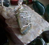Labradorite Polished Gemstone Wire Wrapped Silver Pendant