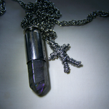 Labradorite Silver Bullet with Voodoo Doll Pendant
