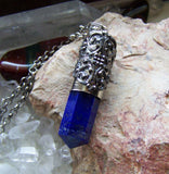 Blue Lapis Lazuli Filigree Bullet Jewelry Pendant Necklace