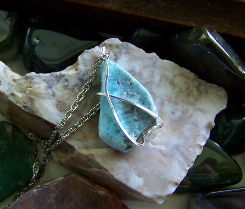 Natural Blue Larimar Gemstone Wire Wrapped Pendant Necklace