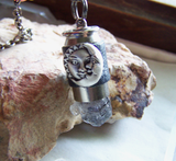 Natural Black Quartz Crystal Sun and Moon Bullet Pendant Necklace