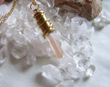 Pink Lemurian Seed Quartz Crystal Gold Bullet Jewelry Pendant