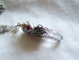 Blood Crystal Lepidochrosite Quartz Filigree Bullet Pendant
