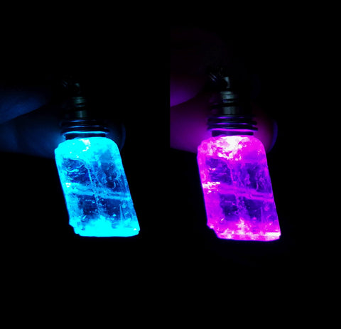LED Color Change Light Up Ice Calcite Crystal Pendant Necklace
