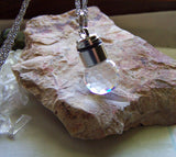 White Light Up LED Swarovski Crystal Disco Ball Pendant Necklace