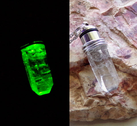 Light Up LED Green Natural Quartz Crystal Pendant Necklace