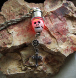Dia de los Muertos Red LED Light Up Skull Day of the Dead Pendant Necklace