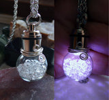Light Up White LED Herkimer Diamonds Crystal Ball Pendant Necklace