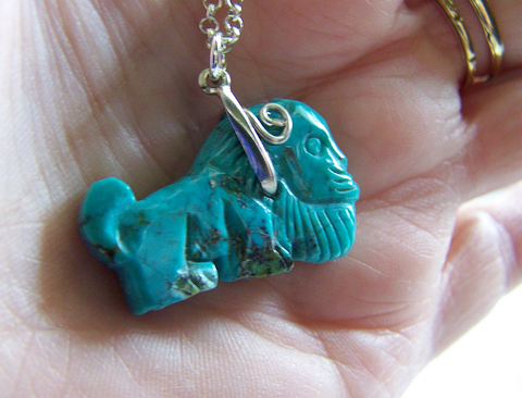 Vintage Natural Turquoise Carved Lion Gemstone Pendant