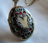 Vintage Gold and Enamel Heart Locket Pendant