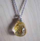 Landscape Quartz Gold and Green Polished Lodolite Crystal Pendant Necklace