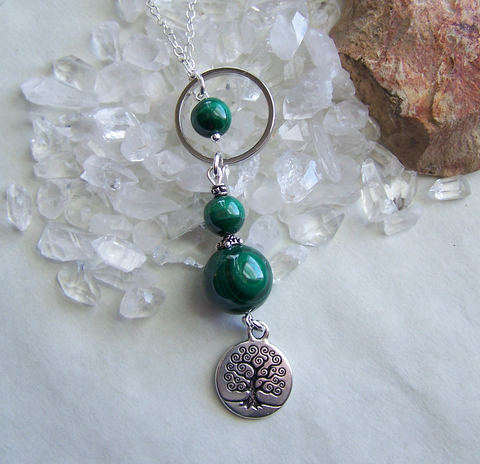 Green Malachite Beads Silver Tree of Life Elemental Necklace