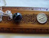 Antique Black and White Glass Swirl Marble Pendant