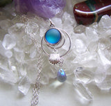 Frosted Blue Mermaid Glass Silver Shell Pendant Necklace