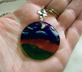 Painted Landscape on Vintage Glass Pendant