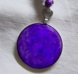 Purple Nebula Vintage Painted Glass Lens Glow in the Dark Pendant