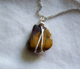 Natural Mookaite Wired Wrapped Stone Pendant Necklace