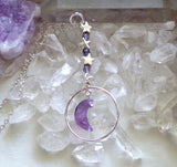 Amethyst Crystal Moon Purple Iolite Silver Circle Pendant Necklace