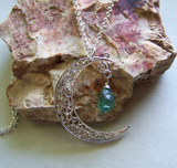 Silver Filigree Crescent Moon With Natural Apatite Crystal Pendant