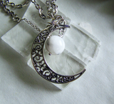 Rainbow Moonstone Filigree Silver Moon Pendant