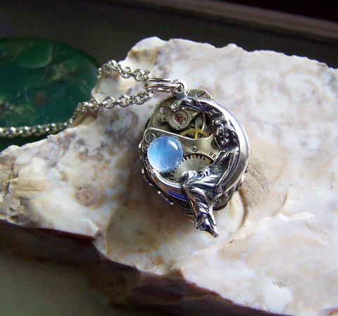 Moon Maiden Vintage Watch Works Moonstone Steampunk Jewelry Pendant