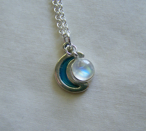 Rainbow Moonstone Silver Moon Necklace