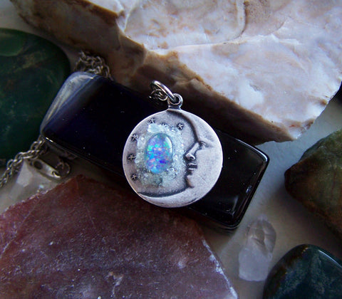 Silver Man in the Moon Opal Aquamarine Crystals Pendant Necklace