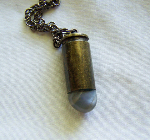 Natural Moonstone Crystal Bullet Jewelry Pendant Necklace