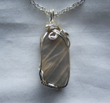 Natural Banded Gray Moonstone Wire Wrapped Pendant